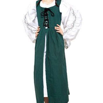 Medieval Victorian Green Tunic-Like Girls Dress Front Lace Billowy Sleeves