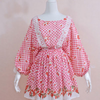 Reversible red and white gingham strawberry print dress