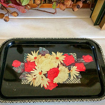 Retro Tv Tray, Black Lacquer Tin Tray, Vintage Tin Litho, Litho Tin Tray, Black Retro Tray, Tin Serving Tray, Black Floral Tray, Holiday