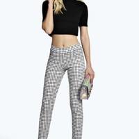 Sara Grid Check Skinny Trousers