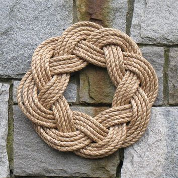 Nautical Wreath, Manila Rope Wreath Sailor Knot Wreath for wall or Centerpiece unframed