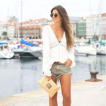 White V-Neck Bell Long Sleeve Asymmetric Hem Blouse