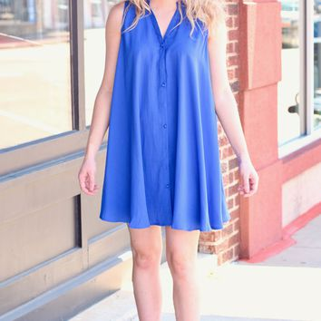 Cobalt Keyhole + Buttons Sleeveless Swing Dress