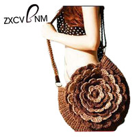 Bohemian Flower Straw Shoulder Tote Bag Purse