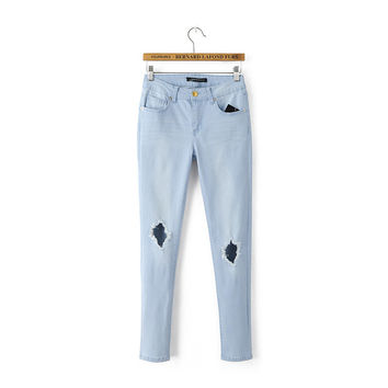 Summer Ripped Holes Rinsed Denim Slim Jeans Skinny Pants [8173401927]