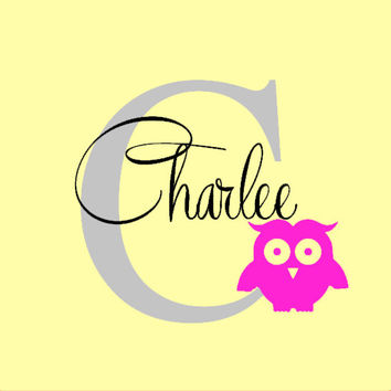 Girls Room Nursery Owl Vinyl Decal Inital Name Personalized Decal