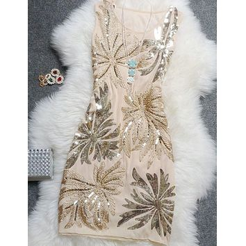 Top Elegant Vintage Sequined Tank Casual Plus Size Floral Women Party Summer Dress,Sequin Dress Women,vestido,vestidos De Fiesta
