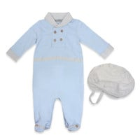 Harry & Violet 2-Piece Footed Coverall and Hat Set in Blue