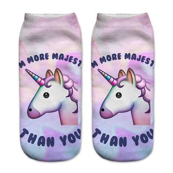 Unicorn Print Skull Camouflage Avocado Socks Funny Crazy Cool Novelty Cute Fun Funky Colorful