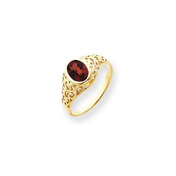 14k Yellow Gold 7x5mm Oval Garnet Ring