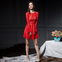 Red Lace Embroidered Flared Long Sleeve Mini Dress