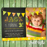 Gender Neutral Birthday Party Invitation - unisex chalkboard design - digital file to print yourself - personalised for you