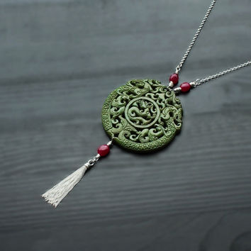 Green Jade & Ruby Silver Tassel Necklace, green red necklace, hand carved jade, talisman pendant, jade dragon, amulet jewelry, double sided
