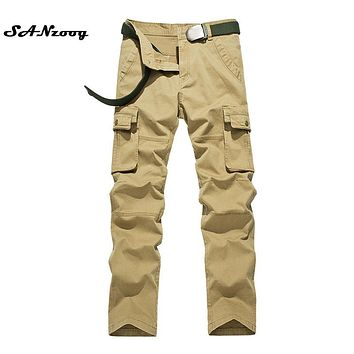 Size 29-38 2017 Summer Autumn Casual Men Classic Cargo Pants 100% Cotton Solid Pocket Long Male Trousers 4 Colors Style