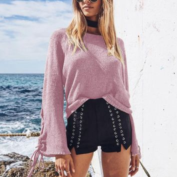 Pullover Sweater with LaceUp Sleeves