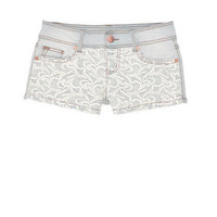 Light Wash Lace Panel Short