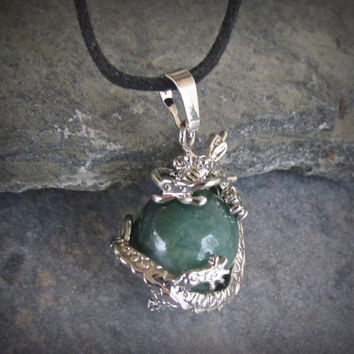 Aventurine Dragon Pendant Necklace, Dragon Clutching Jewel, Choose Necklace Style, Medium Green Sphere, Prosperity Stone, Dragon Lover Gift