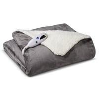 Biddeford Heated Micromink Sherpa Throw - Gray