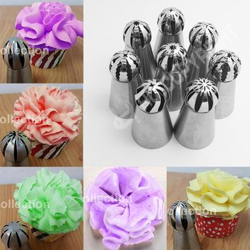 8Style 1 pc Russian piping tips Ball Shaped Stainless Steel Pastry Tool Russian Icing Piping Nozzles Tips baking tools for cakes
