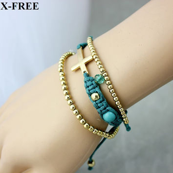 3Pcs/lot handmade cross rope bracelet gold plated beads bracelets christian jewelry
