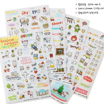VONC1Y 1 Sheet Cute Diary Stickers Pack Post it Kawaii Planner Scrapbooking Sticky Stationery Material Escolar 2016 New School Supplies