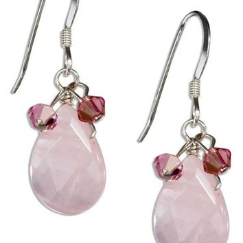 Sterling Silver Rose Quartz Teardrop Earrings with Pink Austrian Crystals