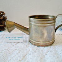 Small Brass Watering Can Vintage Garden Decor Rustic Gardening Cottage Chic