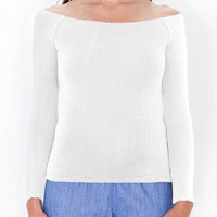 Off Shoulder Knit Top in White