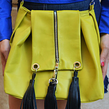 Lemon Yellow Genuine Leather Bag, Stylish Leather Tote, Yellow Shoulder Bag, Genuine Leather Yellow Tote with Black Fringes TLB27 ANDALUSIA