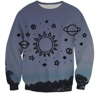 Space drawing sweater