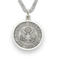 "Sterling Silver 3/4"" Round Engraved U.S. Air Force Medal w/ St. Michael on Back on 20"" Chain"