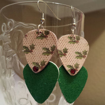 Christmas Jewelry - Guitar Pick Jewelry by Betsy's Jewelr - Guitar Pick Earrings - Holly & Berry - Holiday - Festive Styles