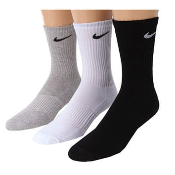 Nike Youth Cotton Cushion Moisture Management Crew Sock 3-Pair Pack White/Grey Heather/Black - Zappos.com Free Shipping BOTH Ways