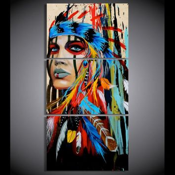 The Indians feathered Painting Canvas Print room decor