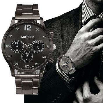MIGEER Quartz Watch Men's Stainless Steel Mesh Band Watches Mens Top Brand Fashion Bracelet Analog Wrist Watches Relogio #LH