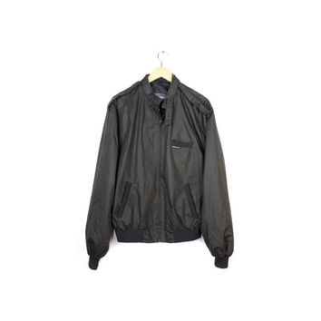 Vtg Members Only jacket / all black monochrome health goth sport windbreaker / mens medium - large