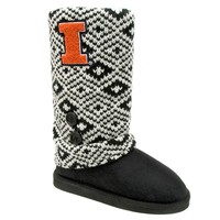 Illinois Fighting Illini Sweater-Knit Microsuede Boot Slippers - Women