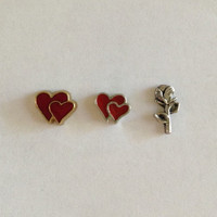Floating charms for living memory lockets -gold double heart, silver double heart, silver rose - Valentine's Day