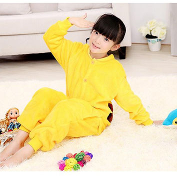 2016 Rushed Pyjama Pyjamas Pikachu 2-11 Years Old Winter Children Flannel Pajamas 1 Piece Kid Clothes Hooded Romper Sleepwear