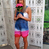 Bib Overalls Pink Ombre Dip Dyed Size Small Festival Dungarees Shortalls //SuzNews Etsy//