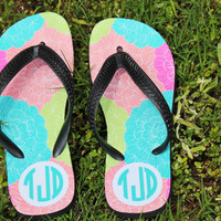 Personalized Pattern Flip Flop with Monogram