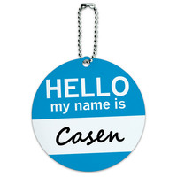 Casen Hello My Name Is Round ID Card Luggage Tag