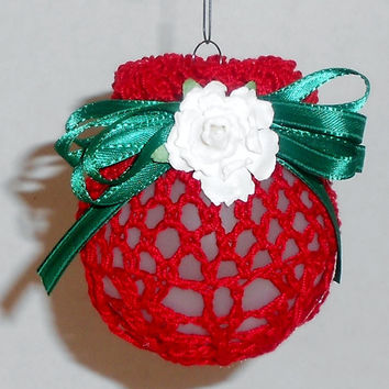 Crochet Christmas Ball Ornament-Red, Green and White