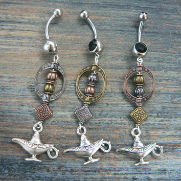 genie in a bottle belly ring long choose metal