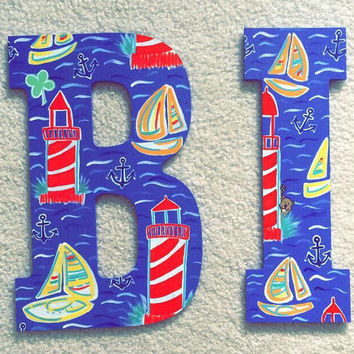 Beach themed hand painted letter