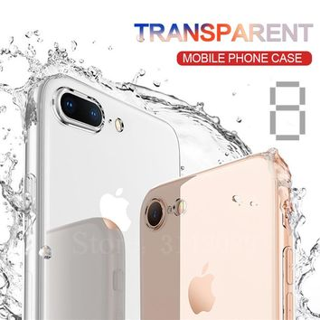 Transparent Silicone Case For iPhone 8 7 plus 6 6 plus Phone Back Soft TPU Coque Cover For iphone 5 5s 6 plus 6 6s Cases