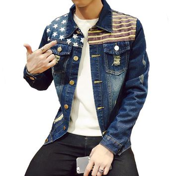 Men's denim jacket slim fit mens jackets and coats