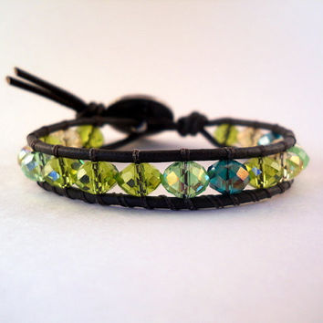 Mint Julep, Leather Beaded Wrap Bracelet, Friendship Bracelet, Chan Luu Inspired,PZW029
