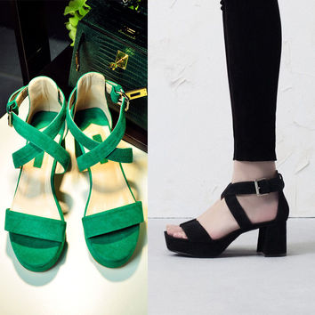 Summer Design Stylish Vintage Simple Design Leather Shoes England Style High Heel Sandals [4920328516]
