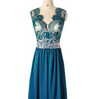 Dark Teal Bridesmaid dress, Top Lace Sheer Back  Sash beaded  Womens Formal Teal senior Prom Dresses Evening Gown 2015